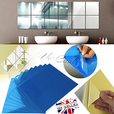 9/16/32Pcs DIY Square Mirror Tile Wall Stickers 3D Decal Mosaic Home Room Decor