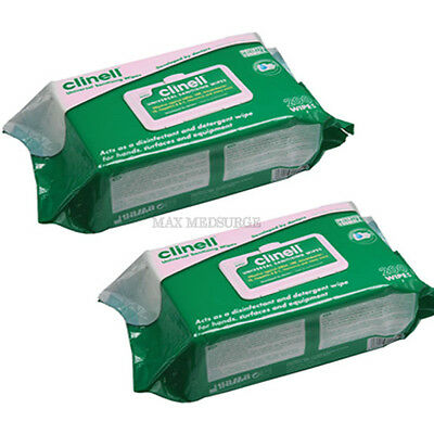 2x Pack 200 - Clinell Universal Hand & Surface Sanitising, Disinfectant Wipe