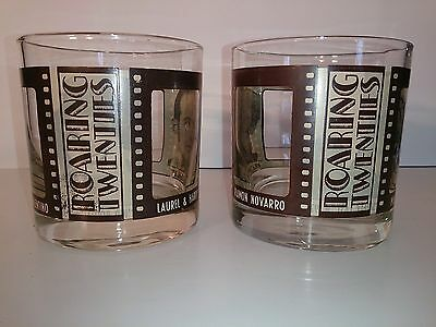 Set of 2 Roaring Twenties Movie Star Hollywood Cocktail Lowball Glass