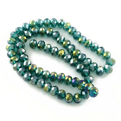 95+ Dark Green Czech Crystal Glass 4 x 6mm AB Faceted Rondelle Beads HA20075