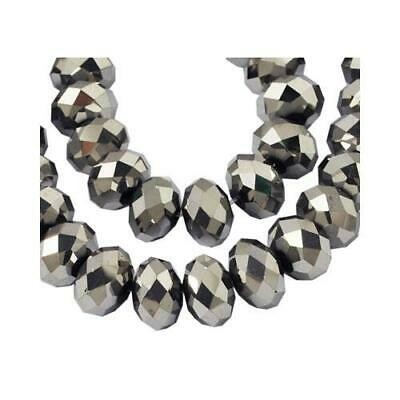 Strand of 70+ Silver Czech Crystal Glass 6 x 8mm Faceted Rondelle Beads HA20490