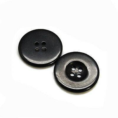 Packet of 10 x Black Resin 30mm Round Buttons (4 Hole) HA10230