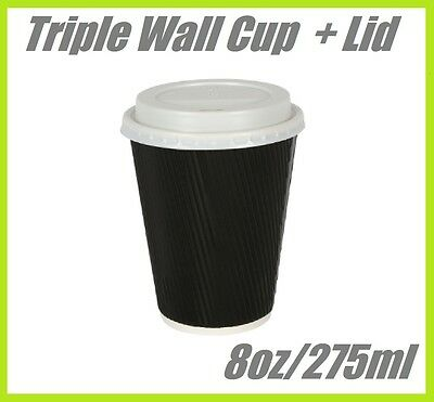 200 8oz COFFEE CUPS TRIPLE WALL DISPOSABLE CUP CAFE TAKEAWAY PAPER TAKE AWAY
