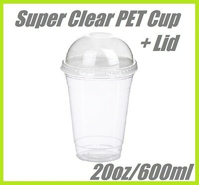 200 20oz Super Clear Cups PET + Dome Lids Plastic Cup Disposable Lid Smoothie