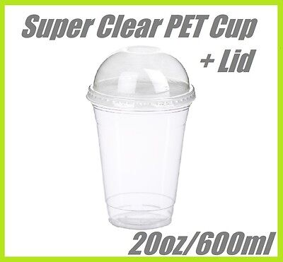1000 20oz Super Clear Cups PET + Dome Lids Plastic Cup Disposable Lid Smoothie
