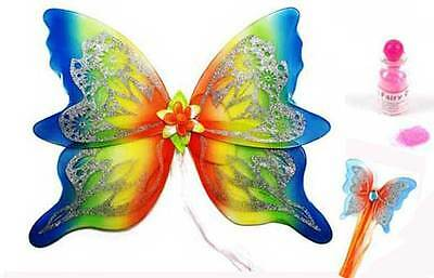 Large Fairy Wings and Fairy Wand Set- Rainbow Design Fancy Dress Adult or Kids
