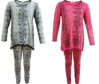 New Girls Snake Print Loungewear Tracksuit Pink Pom Pom Top & Leggings Age 2-13