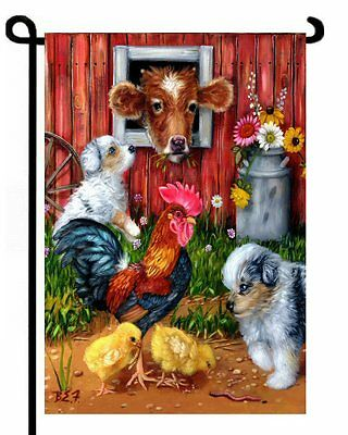 Australian Shepherds Cow Rooster Chicks  GARDEN FLAG Aussies ART by Brooke F.