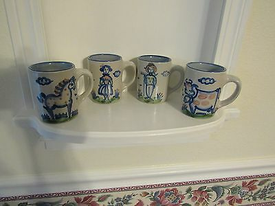 4 Vintage M.a. Hadley Studio Pottery Farm Coffee Cups Cow Lady Farmer Horse
