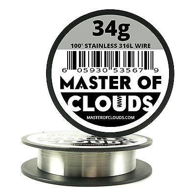 SS 316L - 100 ft. 34 Gauge AWG Stainless Steel Resistance Wire 0.16 mm 34g 100'