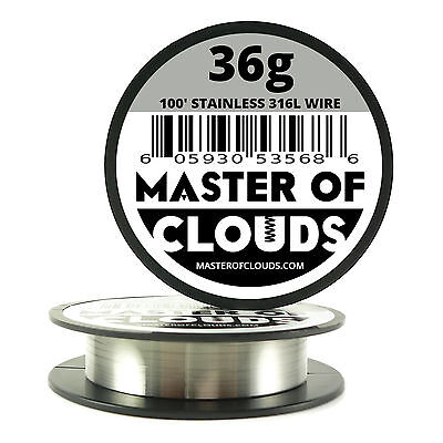 SS 316L - 100 ft. 36 Gauge AWG Stainless Steel Resistance Wire 0.127mm 36g 100'