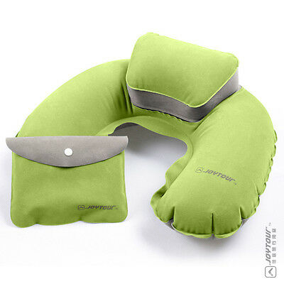 Inflatable Neck rest soft Travel Flight Camping Pillow with Potable Pouch GREEN