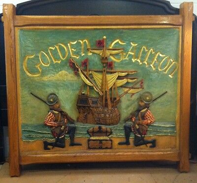 VINTAGE HAND CARVED  17th CENTURY REPRO TAVERN SIGN OR DOUBLE HEADBOARD