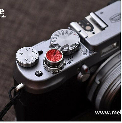 REAL Leather 12mm Soft Release Shutter Button Red for Fuji  X-E2 XT10 x30