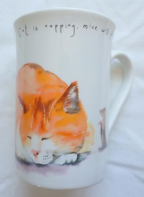 """Kent Pottery Fast Asleep White Coffee Mug Cup with Cat and Mice Mouse 4"""""""