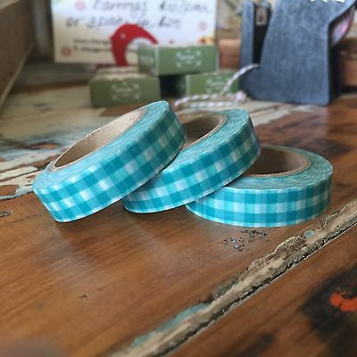 Washi Tape Thin Green Gingham Checks 10Mm Wide X 10Mt Roll Scrap Plan Craft