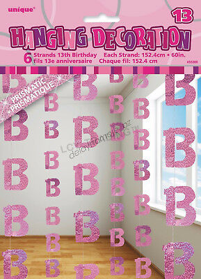 13th Birthday Party 6 Glitz Pink Hanging String Door Curtain Decorations 1.5m 13