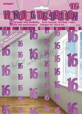 16th Birthday Party 6 Glitz Pink Hanging String Door Curtain Decorations 1.5m 16