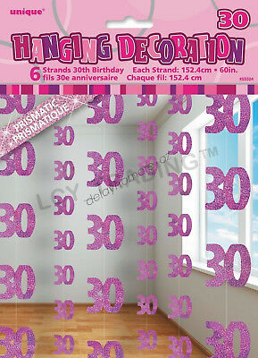 30th Birthday Party 6 Glitz Pink Hanging String Door Curtain Decorations 1.5m 30
