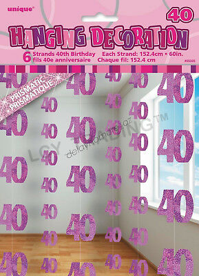 40th Birthday Party 6 Glitz Pink Hanging String Door Curtain Decorations 1.5m 40