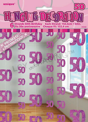 50th Birthday Party 6 Glitz Pink Hanging String Door Curtain Decorations 1.5m 50