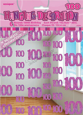 100th Birthday Party 6 GlitzPink Hanging String Door Curtain Decoration 1.5m 100