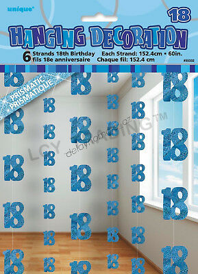 18th Birthday Party 6 Blue Hanging String Door Wall Curtains Decorations 1.5m 18