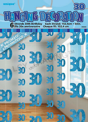30th Birthday Party 6 Blue Hanging String Door Wall Curtains Decorations 1.5m 30