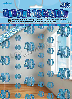 40th Birthday Party 6 Blue Hanging String Door Wall Curtains Decorations 1.5m 40