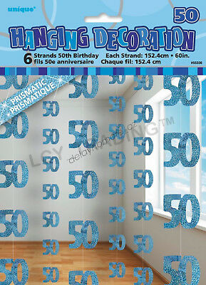 50th Birthday Party 6 Blue Hanging String Door Wall Curtains Decorations 1.5m 50
