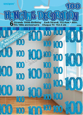 100th Birthday Party 6 Blue Hanging String Door Wall Curtains Decorations 1.5m