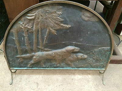 Vintage Brass Fire Screen Embossed Dog Hunting Scene