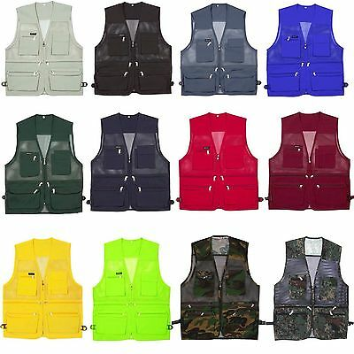Men Multi Pockets Fly Fishing Hunting Mesh Vests Travel Outdoor Jacket Waistcoat