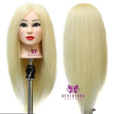 """23"""" 100% Hairdressing Training Head Practice Mannequin Golden Long Hair + Clamp"""