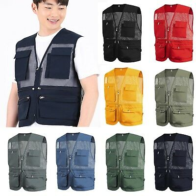 MESH Sleeveless Utility Multi Pocket Zip Tool Vest Work Wear Waistcoat Gilet Top