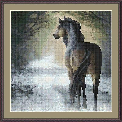 Cross-Stitch Embroidery Color PATTERN with DMC thread codes - Winter Horse