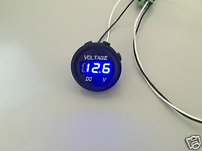 12V-24V Car Motorcycle LED Digital Display Voltmeter Waterproof Meter BLUE UK