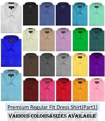 NEW MENS Solid Long Sleeve Dress Shirt ALL Sizes, Length Part 1(11colors)