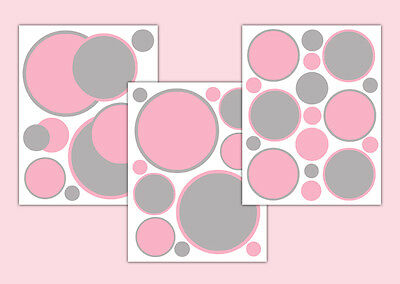 Pink Grey Gray Polka Dot Wall Art Decals Baby Girl Nursery Circle Stickers Decor