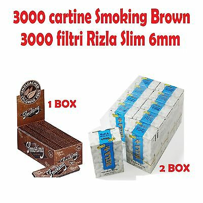 3000 CARTINE SMOKING BROWN CORTE + 3000 FILTRI RIZLA SLIM 6mm + accendino