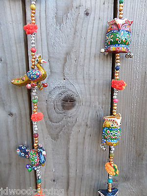 FairTrade Hand Made Indian Carved Owl Peacock String Wind Chime Windchime Mobile