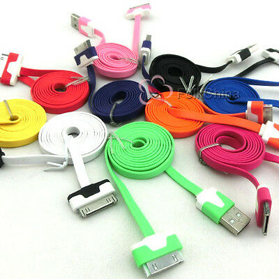 1M 2M 3M FLAT NOODLE CABLE CHARGER USB CABLE FOR APPLE iPHONE 4S 4 3G 3Gs