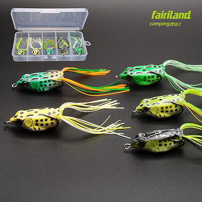 5pcs Soft Rubber Frog Fishing Topwater Lures 3 Size Available  w/ FREE Bait Box