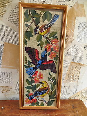 vintage framed completed cross stitch - colourful birds and flowers