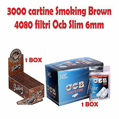 3000 CARTINE SMOKING BROWN CORTE + 4080 FILTRI OCB SLIM 6mm