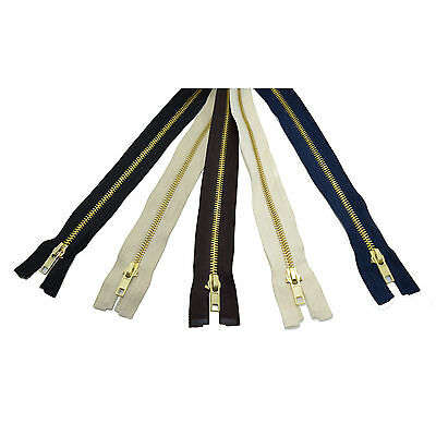 Metal Brass Teeth Open End Zipper ❀ Choice of Colours and Lengths ❀ Made in EU