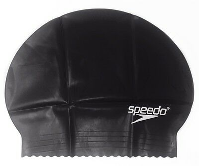 Speedo Solid Latex Swimming Swim Cap Black, Unisex, Water UV Protection Flexible