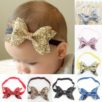 Newborn Baby Girls Kids Sequined Big Bow Hair Band Headband Hair Accessories