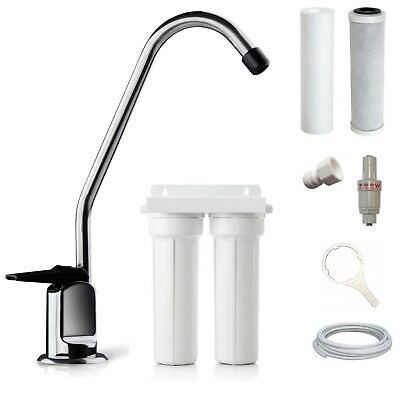 Premium Twin Under Sink Water Filter System + Designer NSF Tap + Filters + Valve