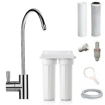 Twin UnderSink Water Filter System Complete Kit